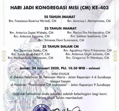Hari Jadi Kongregasi Misi di Indonesia ke 403