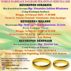 Misa World Marriage Day 2020 Surabaya Malang Denpasar