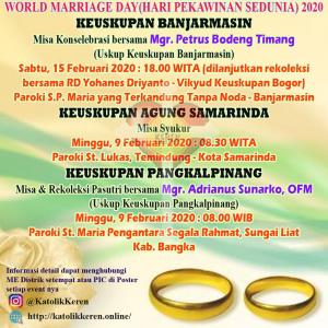 Misa World Marriage Day 2020 Banjarmasin Samarinda Pangkalpinang