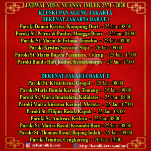 Jadwal Misa Nuansa Imlek 2020 Keuskupan Agung Jakarta Barat