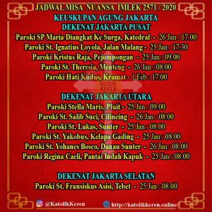 Jadwal Misa Nuansa Imlek 2020 Keuskupan Agung Jakarta Pusat Utara Selatan