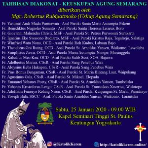 Tahbisan Diakonat Keuskupan Agung Semarang Januari 2020