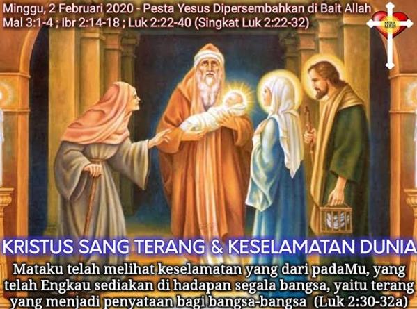Pesta Yesus Dipersembahkan dalam Bait Allah 2 Feb 2020