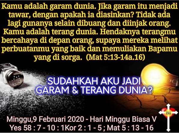 Hari Minggu Biasa V - 9 Februari 2020