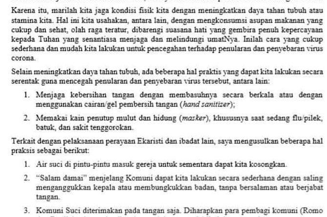 Himbauan Pencegahan Virus Corona Keuskupan Agung Semarang