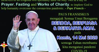 Ajakan Paus Fransiskus Berdoa, Berpuasa & Berkarya Amal