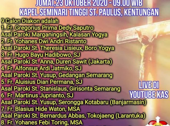 Tahbisan Diakon Keuskupan Agung Semarang 2020