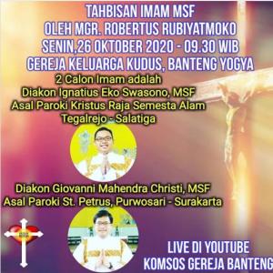 Tahbisan Imam MSF Semarang 2020