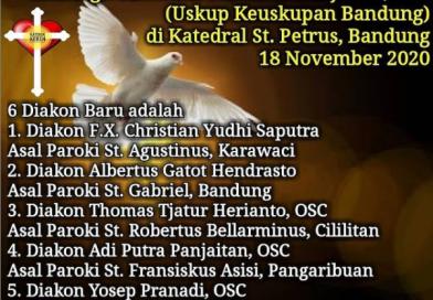 Tahbisan Diakon Keuskupan Bandung 2020
