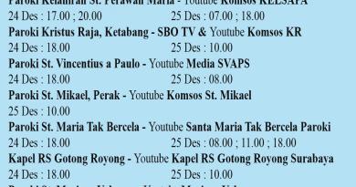 Jadwal Misa Natal Live Streaming Kevikepan Surabaya Utara