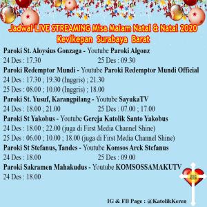 Jadwal Misa Natal Live Streaming Kevikepan Surabaya Barat