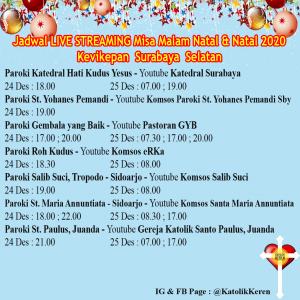 Jadwal Misa Natal Live Streaming Kevikepan Surabaya Selatan