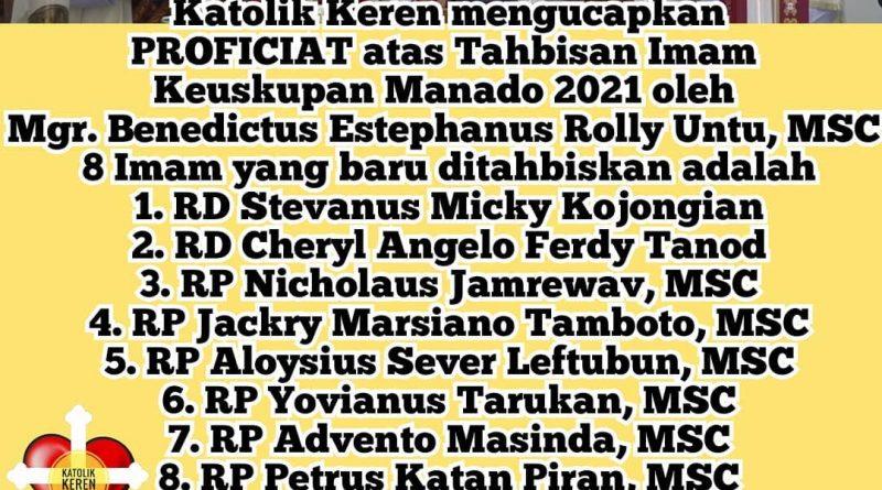 Tahbisan Imam Keuskupan Manado 2021