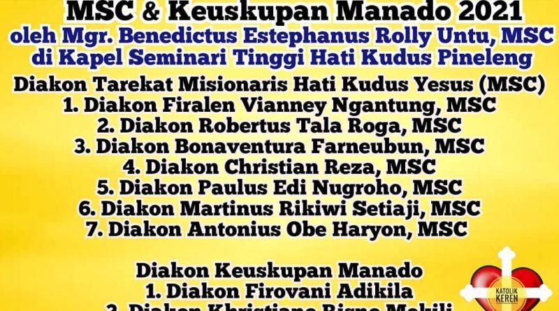 Tahbisan Diakon MSC & Manado 2021