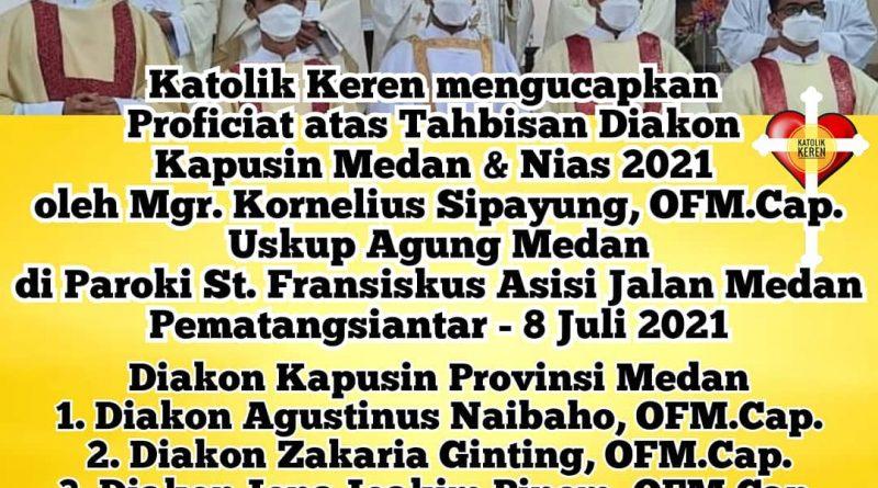 Tahbisan Diakon Kapusin Medan & Nias 2021